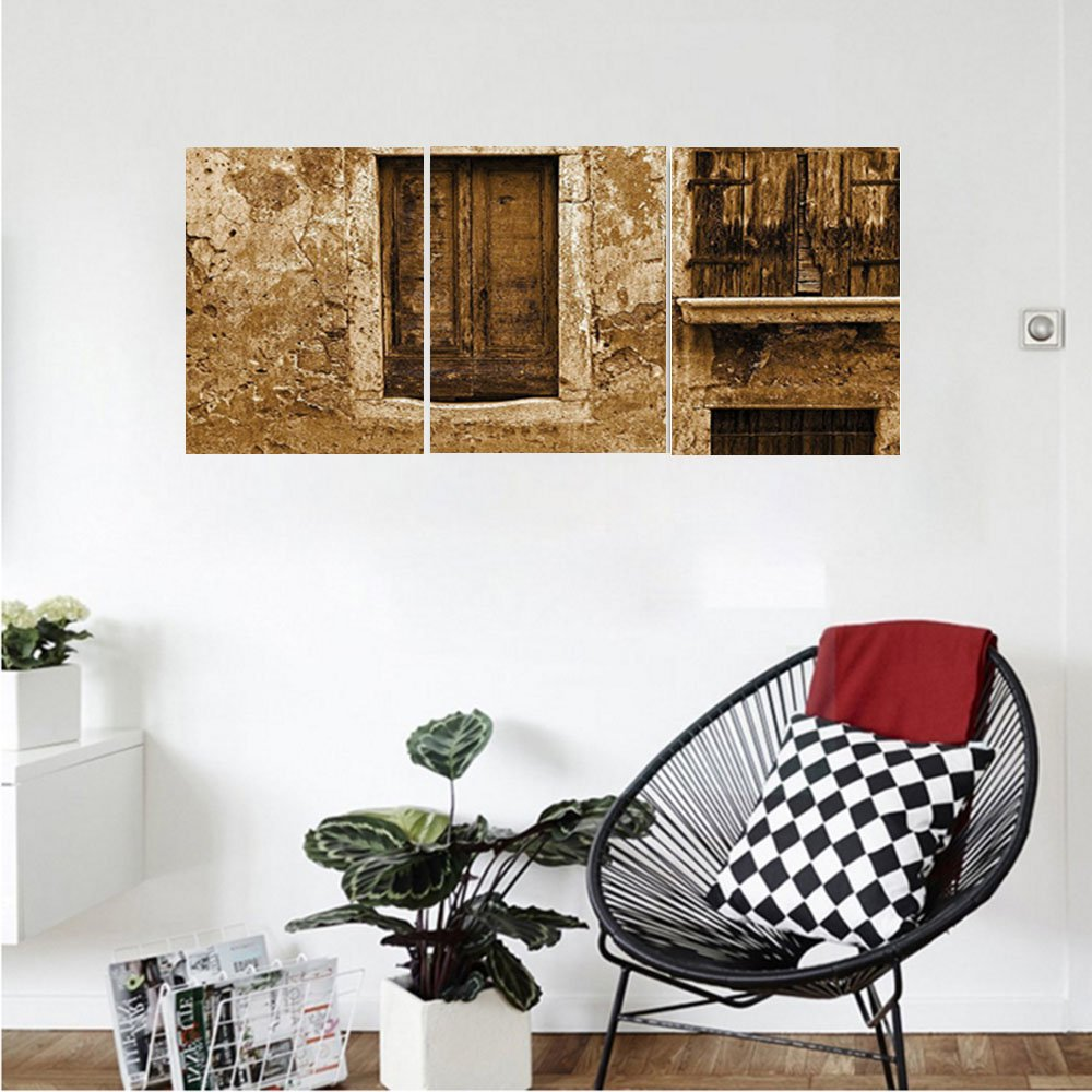 Liguo88 Custom canvas Shutters Decor Vintage Photo Of Old House After War Traditional European Window Image Home Decor Bedroom Living Room Decor Brown Creme