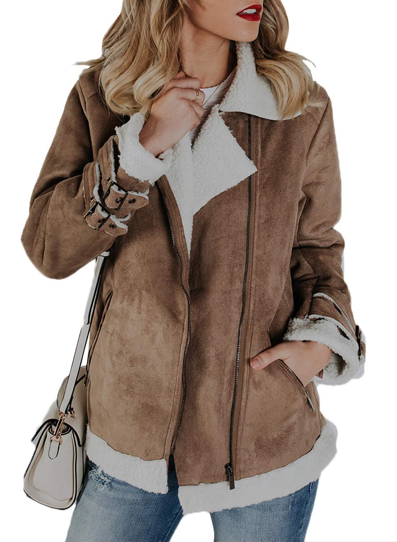 Sidefeel Women Faux Suede Jacket Zipper Up Front Coat Outwear with Pockets X-Large Khaki