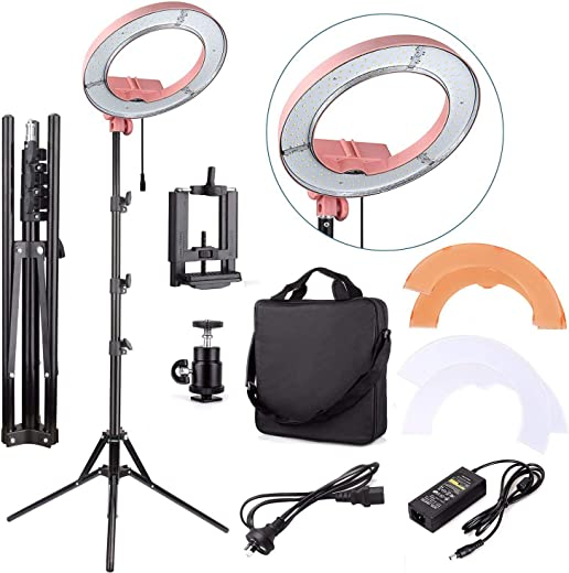 """EACHSHOT ES180 Kit, {Including Light, Stand, Phone Clamp, Tripod Head }180 LED 13"""" Stepless Adjustable Ring Light Camera Photo/Video Portrait photography 180pcs LED 5500K Dimmable -Pink"""