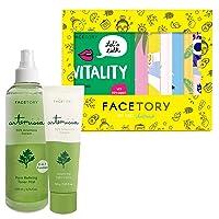 FaceTory Gift Set of 7 Sheet Masks, Artemisia Creme and Toner/Mist - Hydrating, Oil-Control, Skin-Balancing