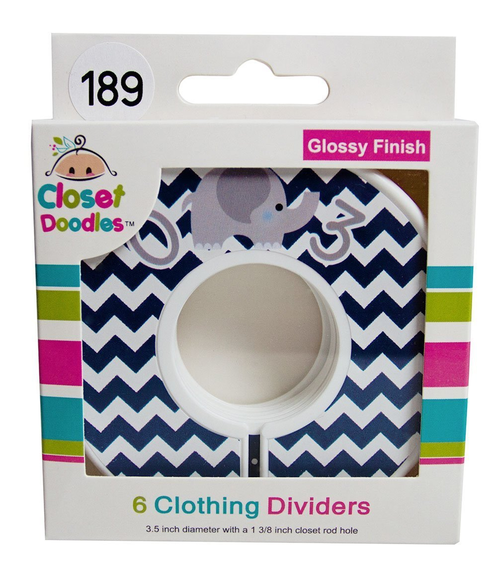 Closet Doodles C189 Elephant Navy Boy Baby Closet Dividers Set of 6 Fits 1.25inch Rod Digitaldoodlebug