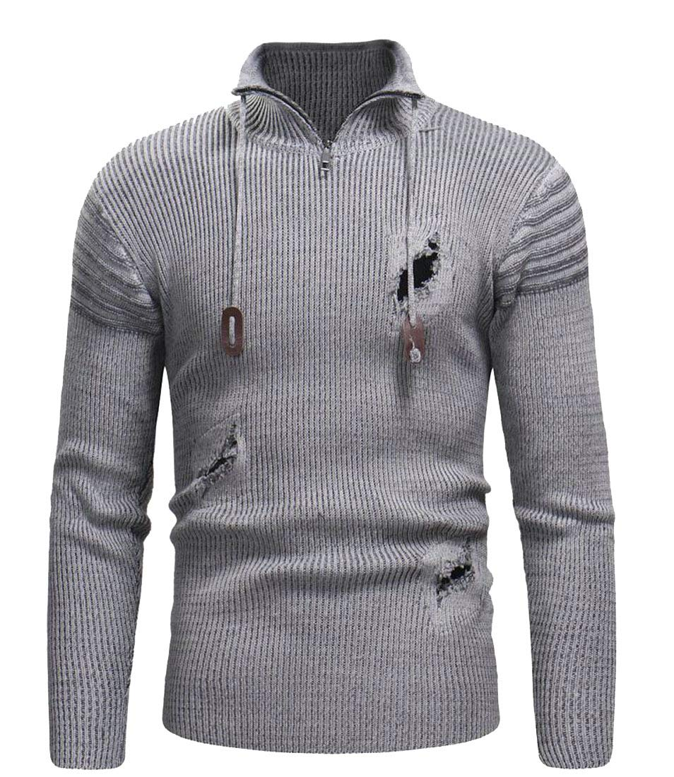 Domple Men Striped Destroyed Ripped Hole Knit Zipper Stand Collar Pullover Sweater Light Gray XL