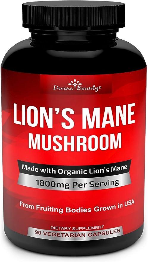 Organic Lions Mane Mushroom Capsules - 1800mg Strongest Lion's Mane Mushroom Supplement - Non-GMO Lions Mane Extract Powder - Nootropic Brain Supplement - Brain & Immune Support - 90 Vegetarian Caps