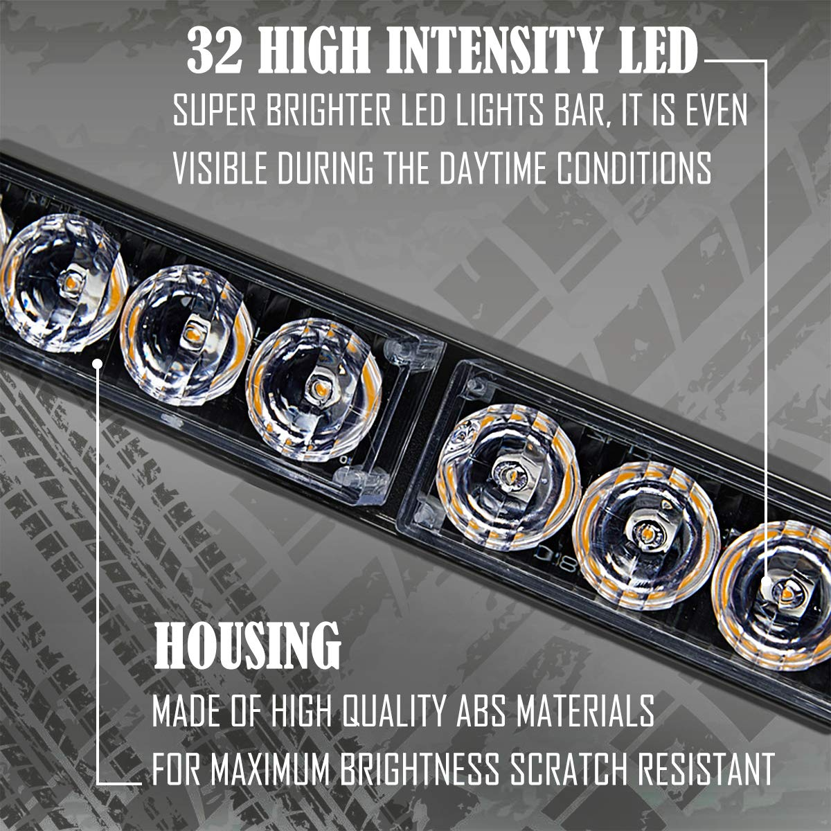 35.5 Inch, Yellow//White Emergency Light Bar 35.5 Inch Traffic Advisor Led Strobe Light Bar Kit Rainproof Warning Caution Turn Signals Directional Car Vehicles Pickup Trucks Tow Roof Rear Head