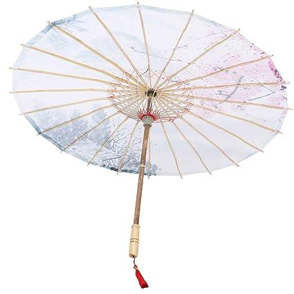 Healifty Paraguas de Papel del Aceite Clásico de Chino Paraguas de Encaje con Mango de Bambú