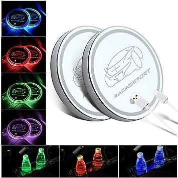 Amazon.es: wayrank 2pcs coche LED Titular de la Copa Mat Pad Posavasos USB Batería RGB Decoración luz interior