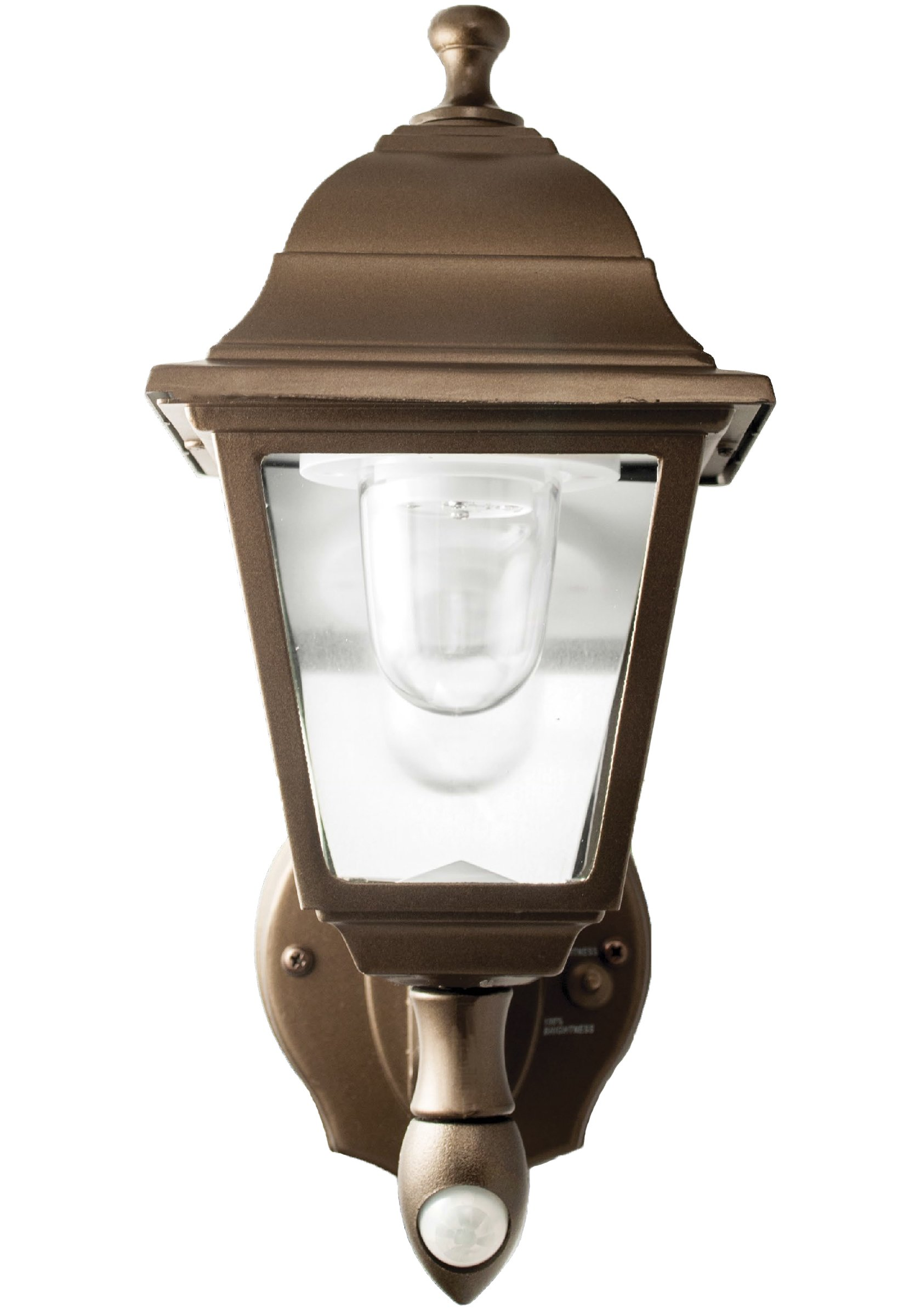 MAXSA LED Wall Sconce, Battery-Powered & Motion-Activated Outdoor Decorative Light. Wireless, Metal & Glass Construction, Dark Bronze 46219