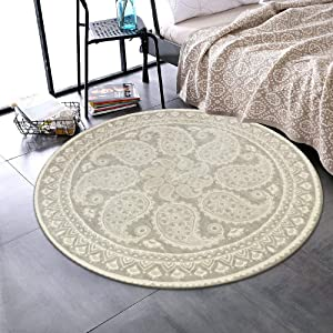 LEEVAN Faux Wool Area Rug 3ft Round Accent Distressed Throw Runner Rug Non-Slip Backing Soft Wool Floor Carpet for Sofa Living Room, Bedroom Modern Accent Home Decor, Paisley Pattern