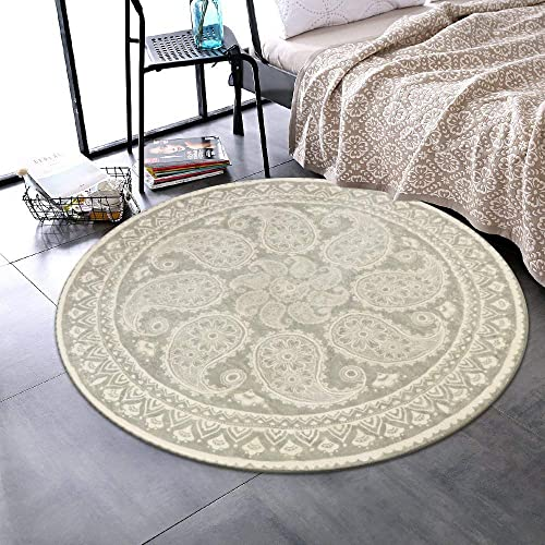 LEEVAN Faux Wool Area Rug 3ft Round Accent Distressed Throw Runner Rug Non-Slip Backing Soft Wool Floor Carpet for Sofa Living Room, Bedroom Modern Accent Home Decor,Paisley Pattern