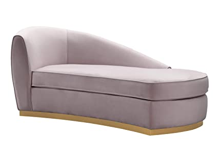 TOV Furniture TOV L6153 The Adele Collection Contemporary Velvet  Upholstered Chaise Sofa, Blush