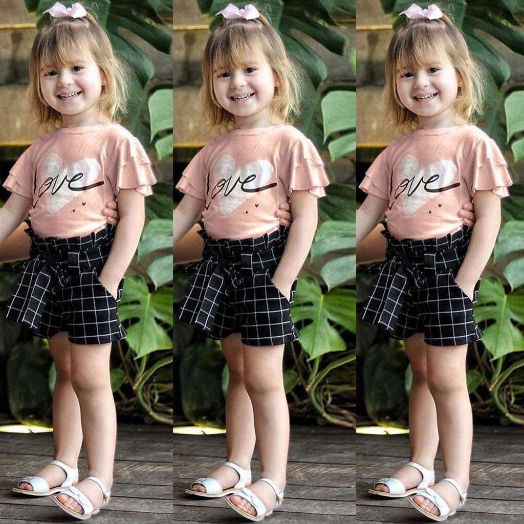 Fabal Toddler Baby Girls Fly Sleeve Love Letter Print Tops+Plaid Shorts Outfits Sets