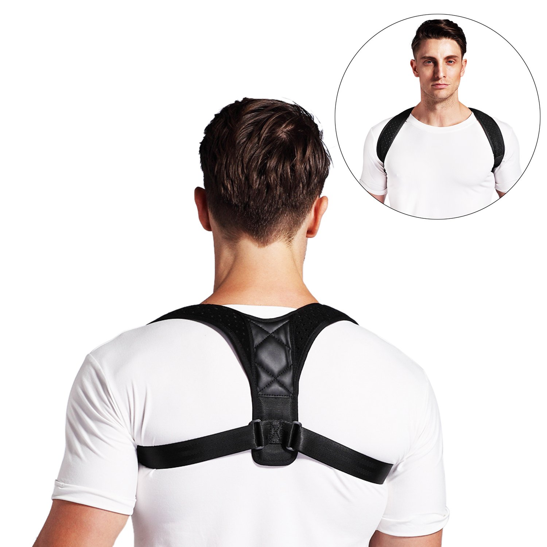 Conbays Back Posture Corrector for Women Men Adjustable Clavicle Brace Support Shoulder Connector Upper Back Pain Relief Posture Support Strap for Home Office