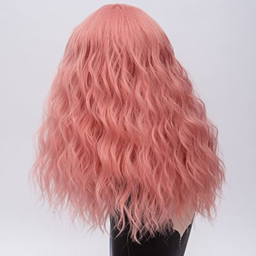 Amazon.com: Alacos 45CM Short Curly Lolita Harajuku Christmas Party Costumes Cosplay Wigs for Women +Free Wig Cap (Foggy Pink): Beauty