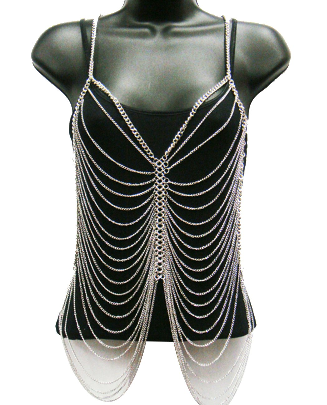 NYFASHION101 Ladies' Classic Multi Strand Fashion Body Chain Jewelry IBD1019R, Silver-Tone