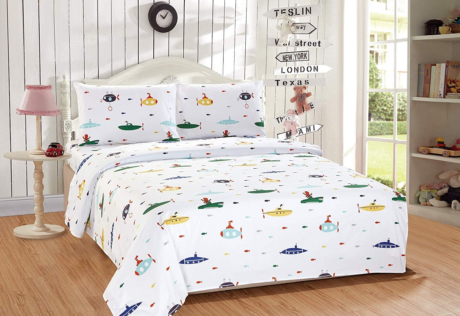 Elegant Home Multicolors Submarines Marine Life Sharks Fish Design Fun 3 Piece Printed Sheet Set with Pillowcase Flat Fitted Sheet for Boys/Kids/Teens (Submarine, Twin Size)