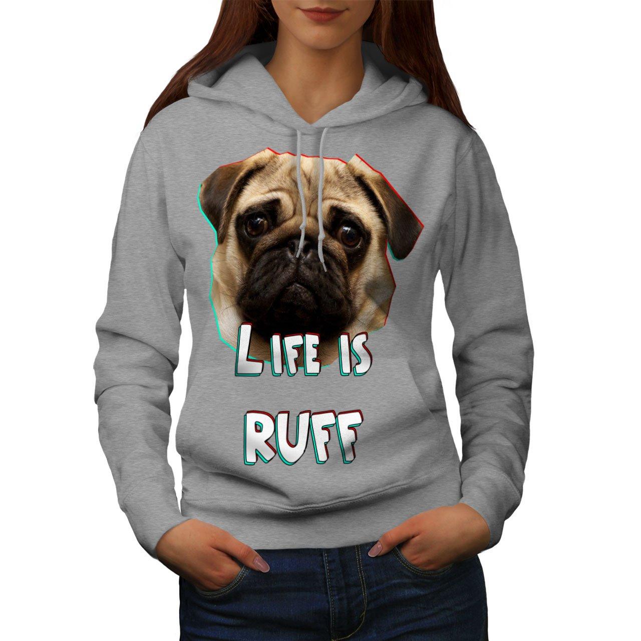 Wellcoda Pug Dog Face Look Womens Hoodie, Life Print Hooded Sweatshirt Grey S y2003xWxKxGzSx