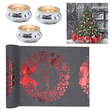 24 Teile Tischdeko Set Merry Christmas In Grau Rot Silber