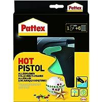 Pattex Hot Pistol Heißklebepistole/Klebepistole mit mechanischem Vorschub und hitzeisolierter Düse/Set mit Pattex Heißklebepistole + 6 Klebesticks, Ø 11 mm