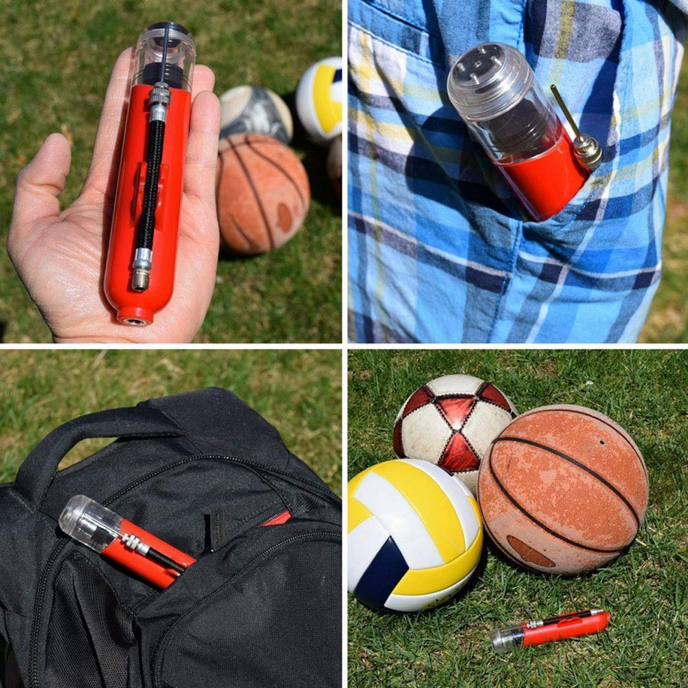 Hand Air Pump Mini Ball Pump with 3 Needles and 1 Nozzle Portable Inflator Air Pump for Inflatables Basketball Soccer Volleyball Black 1Set