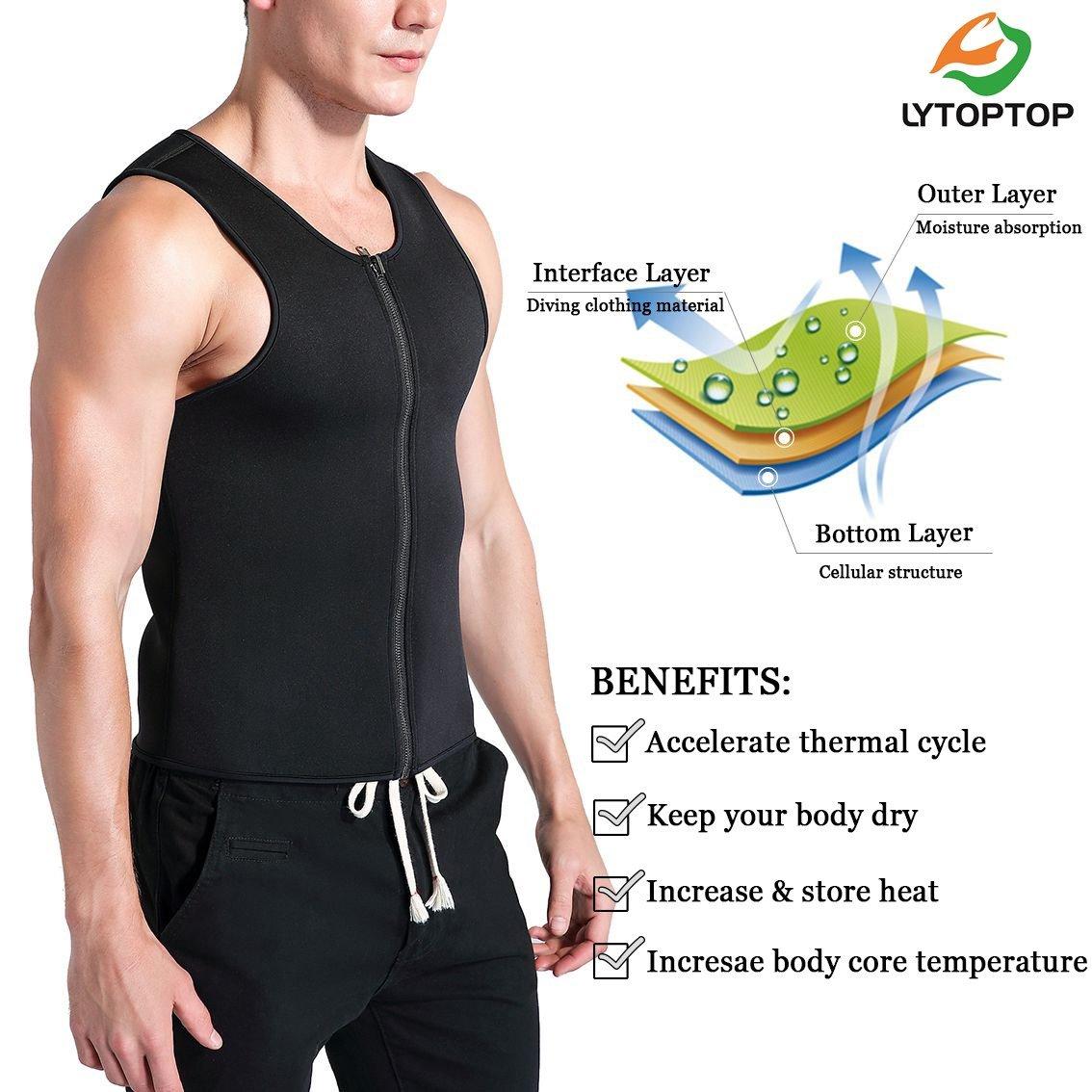 LYTOPTOP Mens Waist Trainer Sweat Sauna Vest,Neoprene Hot Body Shaper Tank Top for Weight Loss Compression Workout Shirt,Slimming Corset Shapewear Thermo Sauna Suits Fat Burner Zipper