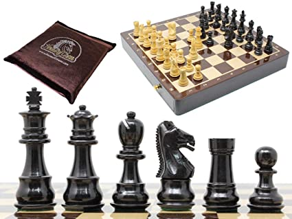 House of Chess - Ebony Wood / Boxwood Chess Set Pieces Galaxy Staunton 3
