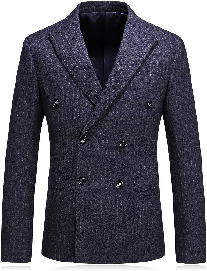 MOGU Mens Double Breasted Pinstripe 3 Piece Suit Slim Fit Blazer Jacket & Trousers & Waistcoat