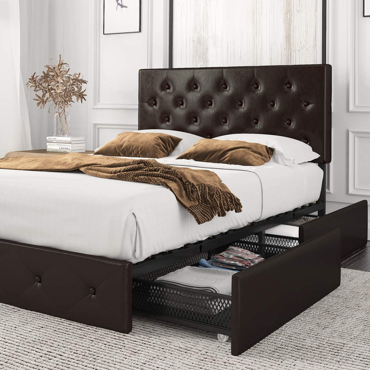 Amolife Queen Size Platform Bed Frame with 4 Storage Drawers and Wood Slat Support, Faux Leather Upholstered Mattress Foundation with Button Tufted Headboard and Underbed Storage, Black Brown