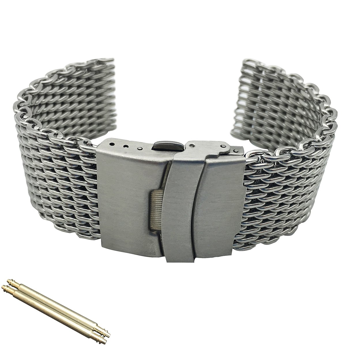 Leesting Shark Mesh 20 22 24mm Silver Diving Thick Watch Band Fit Seiko Citizen Casio IWC Tissot(20mm)