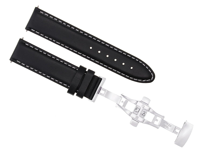 18 – 19 – 20 – 22 mmレザーストラップバンドSmooth Deploy Clasp for Omega Seamasterブラック2 18mm Black with white stitching  Black with white stitching 18mm B07DHMWCTB