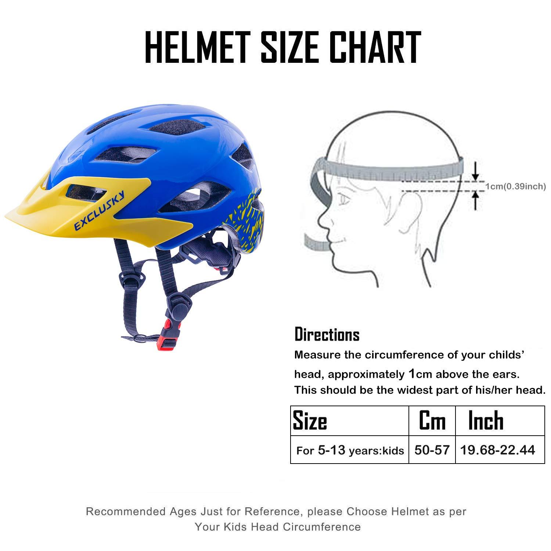 Exclusky Kids Bike Helmets Lightweight Adjustable Child Helmet for Boys Girls 50-57cm Ages 5-13