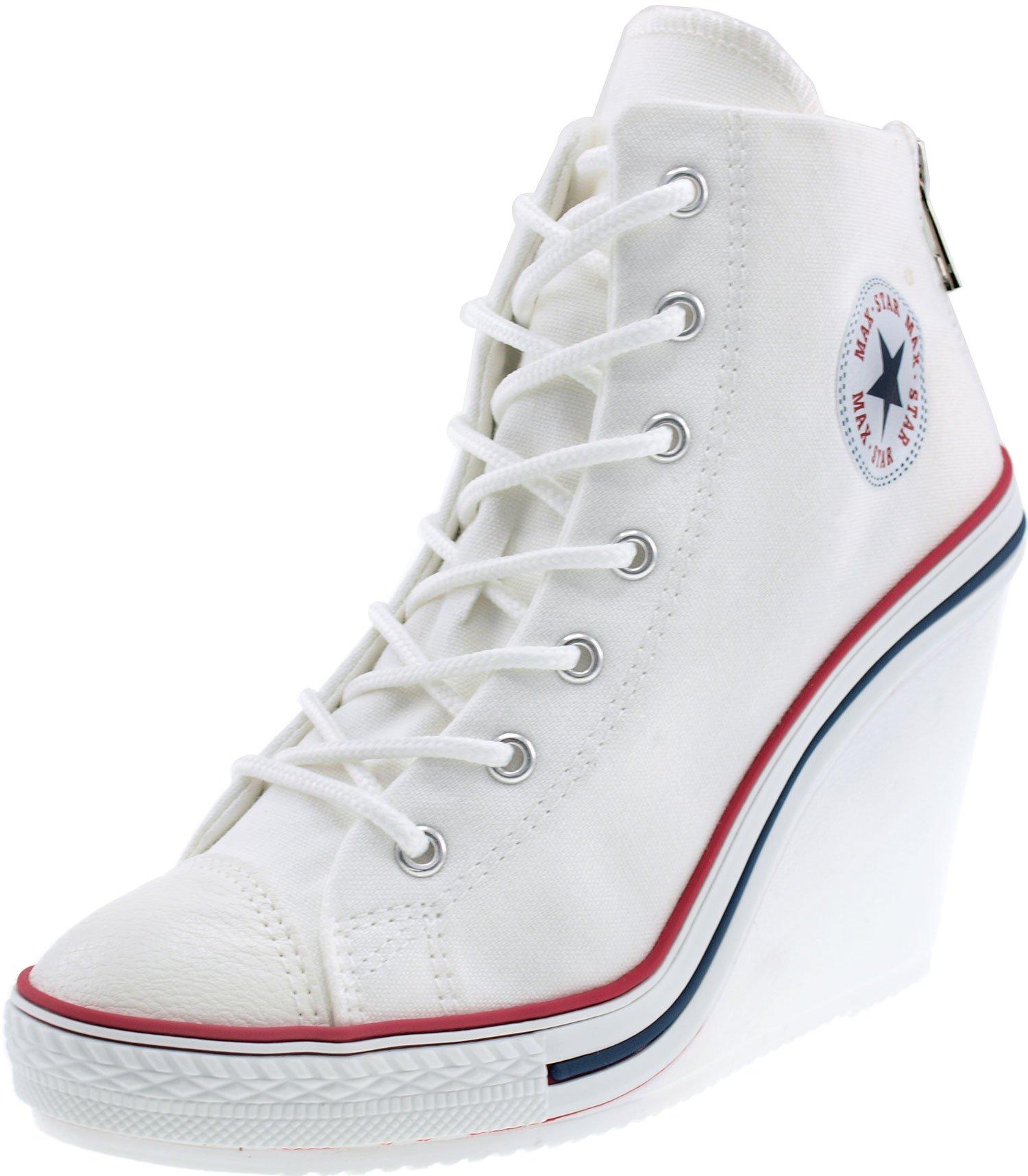 Maxstar Women's 777 Back Zipper Canvas High Wedge Heel Sneakers White 6 B(M) US
