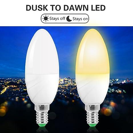 JandCase - Bombilla LED de 6 W con sensor de luz, E14, bombillas de