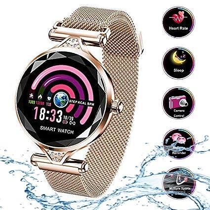 Smart Watch para Mujeres H1 Pulsera Actividad Inteligente con Pulsómetro Impermeable IP67 Podómetro Pulsera Deportiva Monitor de Ritmo Cardíaco Reloj ...