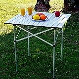AIMADO Aluminium Klapptisch Campingtisch 60 x 45cm, Höhenverstellbar Multifunktionstisch Gartentisch Portable Outdoor Picknicktisch mit Tragegriff