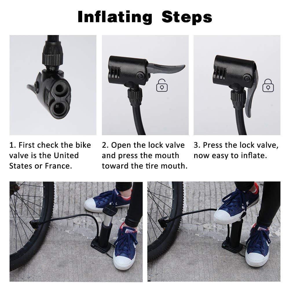 Poscoverge - Mini Bomba de Suelo para Bicicleta, portátil, Bomba de neumáticos de Bicicleta, válvulas Presta y Schrader, aleación de Aluminio, sin Barril, ...