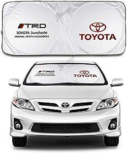 JYMAOYI for Toyota Sunshade TRD Windshield Visor Cover Car Window Sun Shade UV Protect Car Window Film for Most Toyota Yaris 4Runner Levin VIOS EX IZOA RAV4 Avalon REIZ C-HR