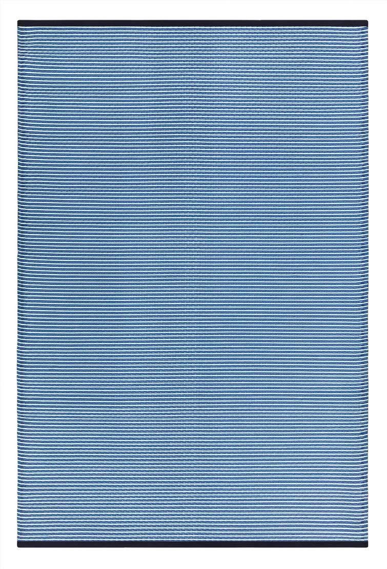Green Decore Stripes Outdoor/Plastic / Reversible Eco Rug (5 x 8, Blue Stripes)