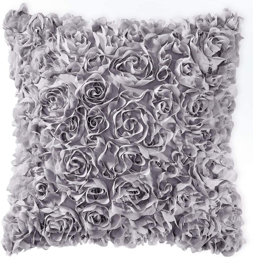 MIULEE 3D Decorative Romantic Stereo Chiffon Rose Flower Pillow Cover Solid Square Pillowcase for Sofa Bedroom Car 18x18 Inch 45x45 cm Grey