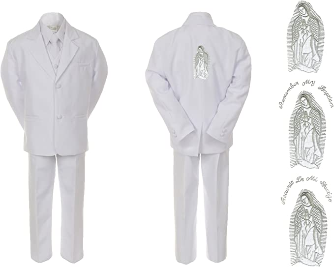 Infant Baby Boy Christening Baptism White Tail Tux Stole /& Back Mary Maria Sm-7
