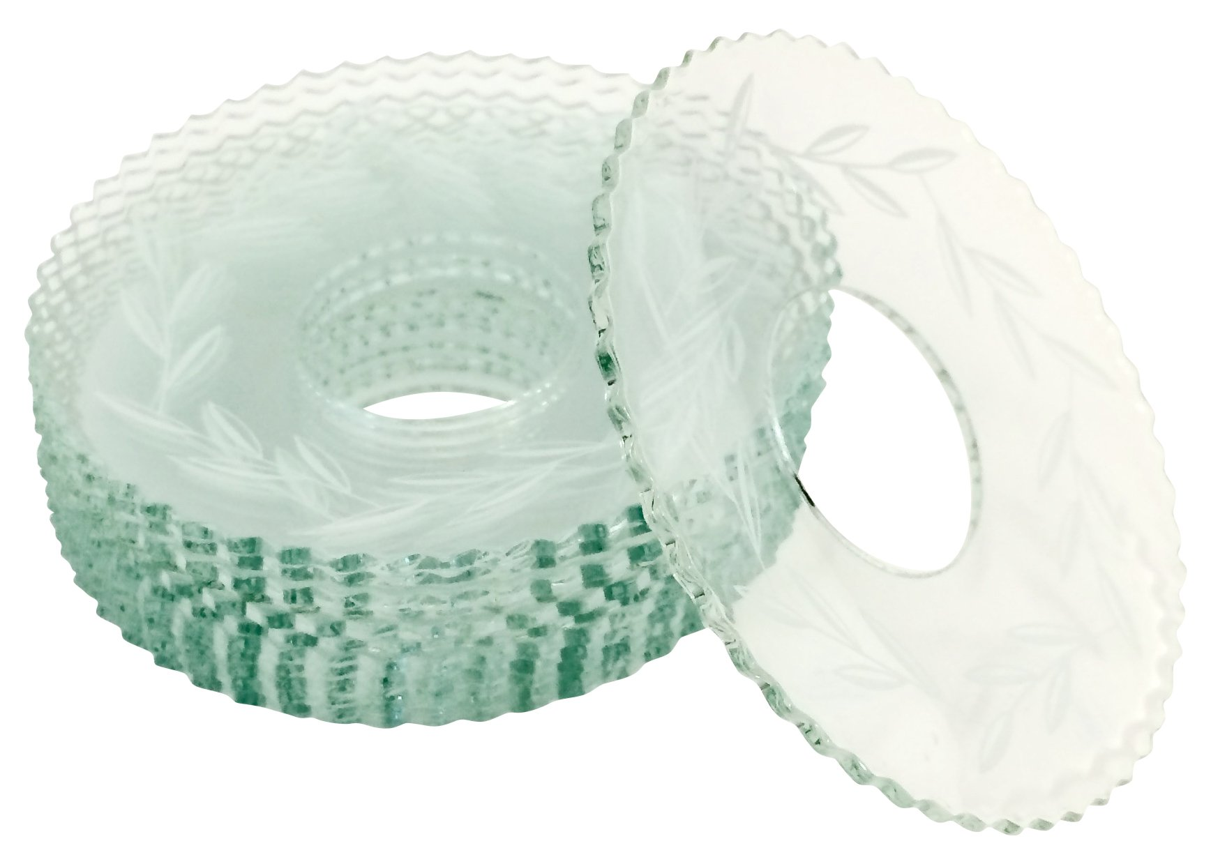 Biedermann & Sons 12 Count Bobeches Glass with Etched Leaves, Clear by Biedermann & Sons (Image #1)