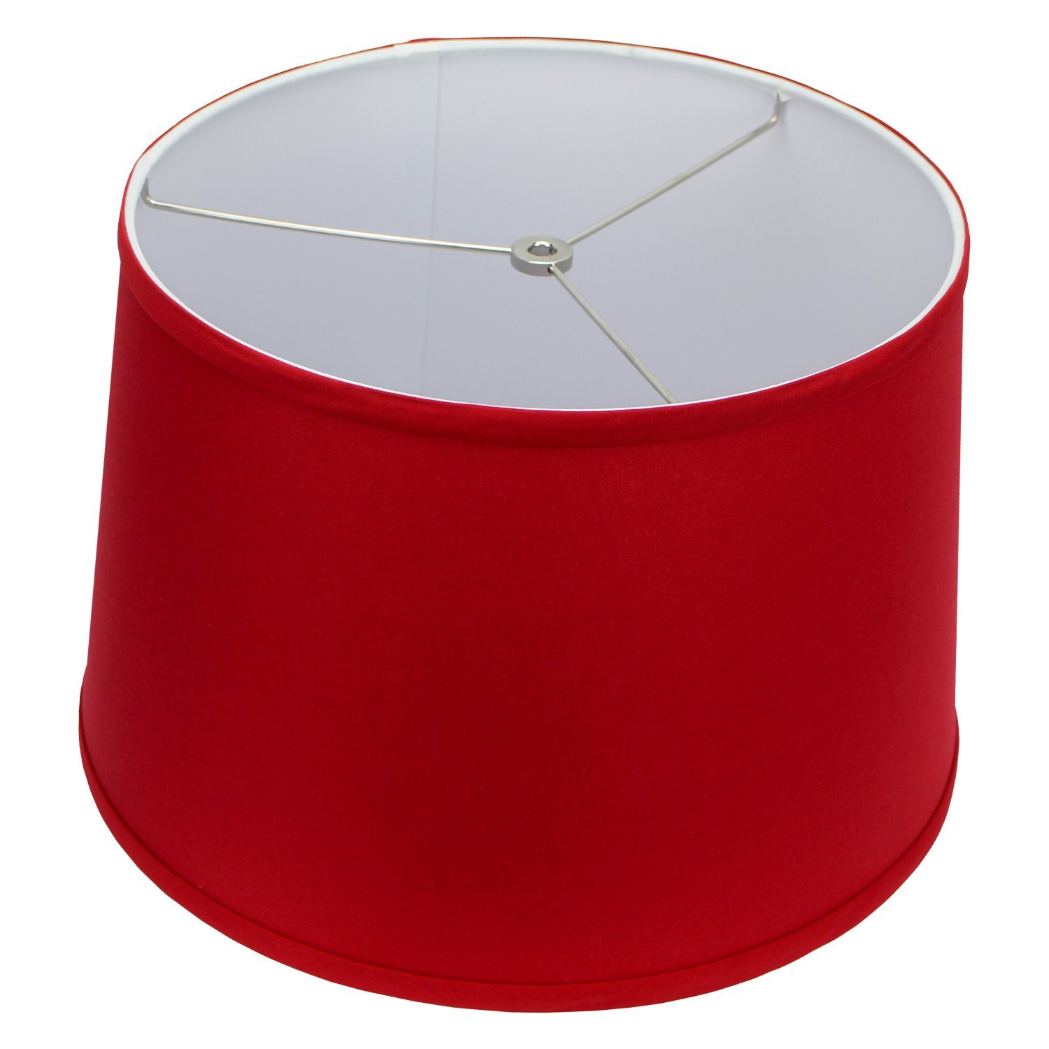 FenchelShades.com 13'' Top Diameter x 15'' Bottom Diameter x 10'' Height Fabric Drum Lampshade Spider Attachment (Rich Red)