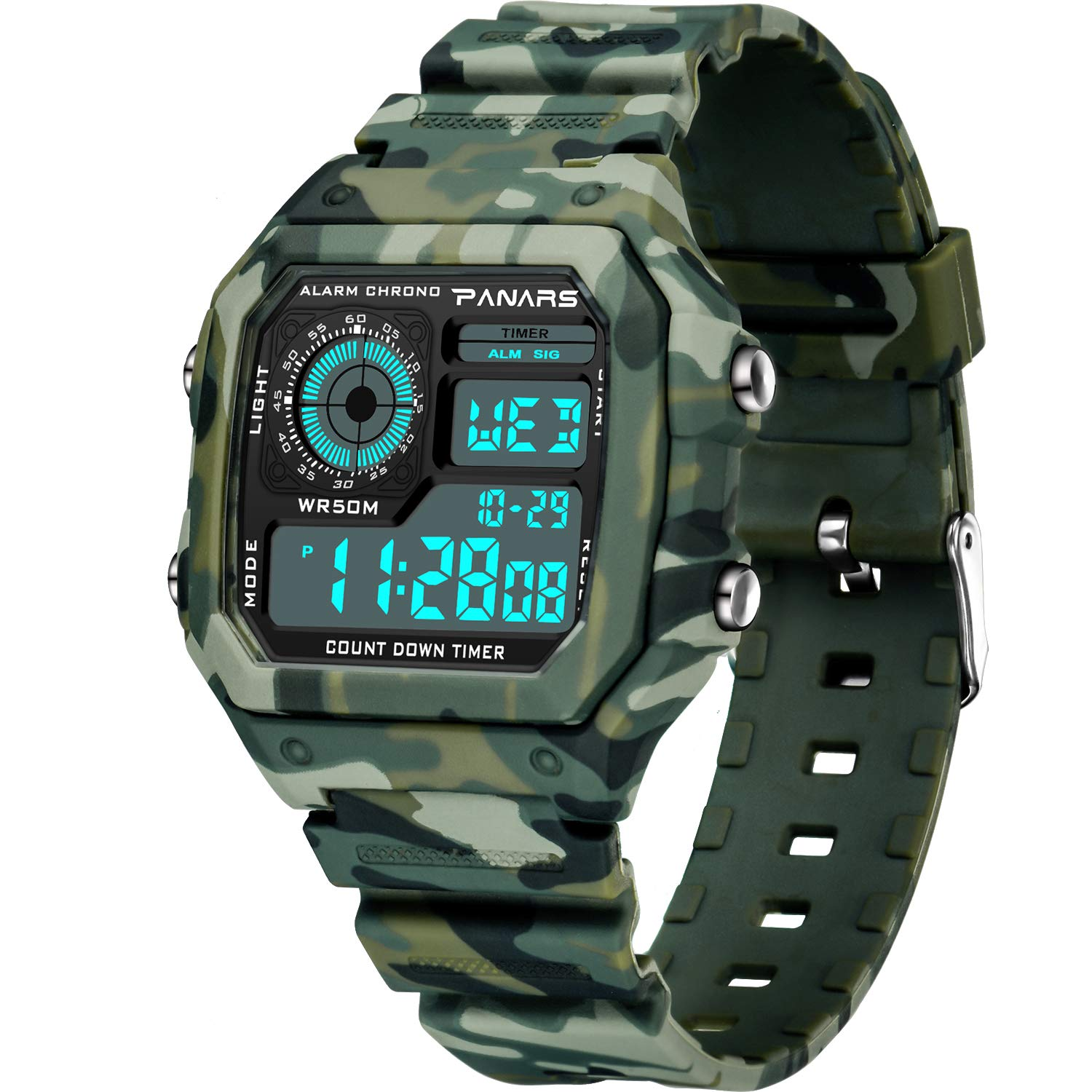 Honesty Mens Watch Led Digital Date Sports Army Males Quartz Watch Outdoor Electronics Men Clock For Sports Wristband Running Gift Professional Design Watches