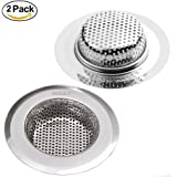 "BRIESLY Set of 2 Stainless Steel Kitchen Sink Strainer - Large Wide Rim 4.5"" Drainer Basin Filter"