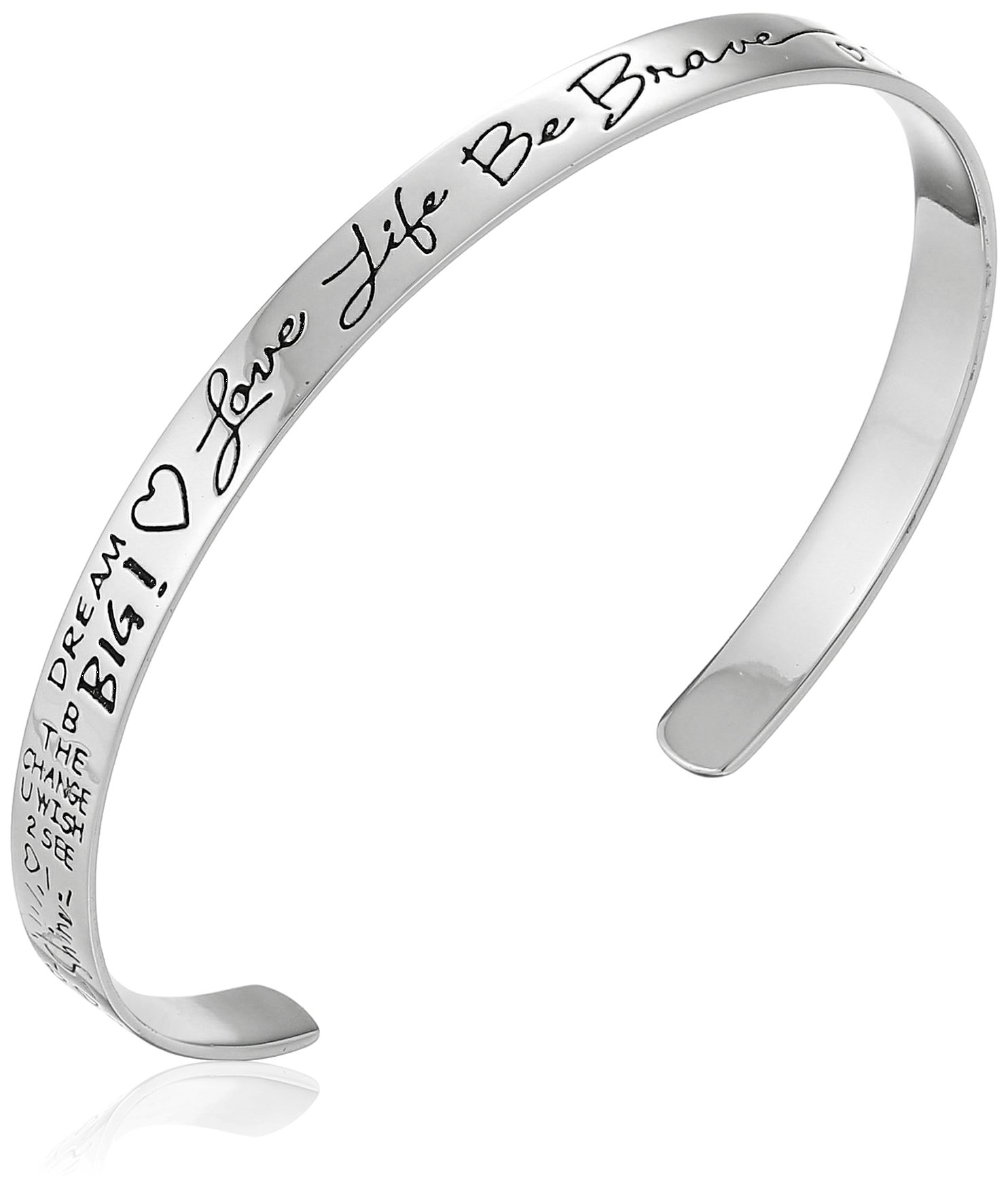 Sterling Silver ''Love Life Be Brave'' Cuff Bracelet, 6''