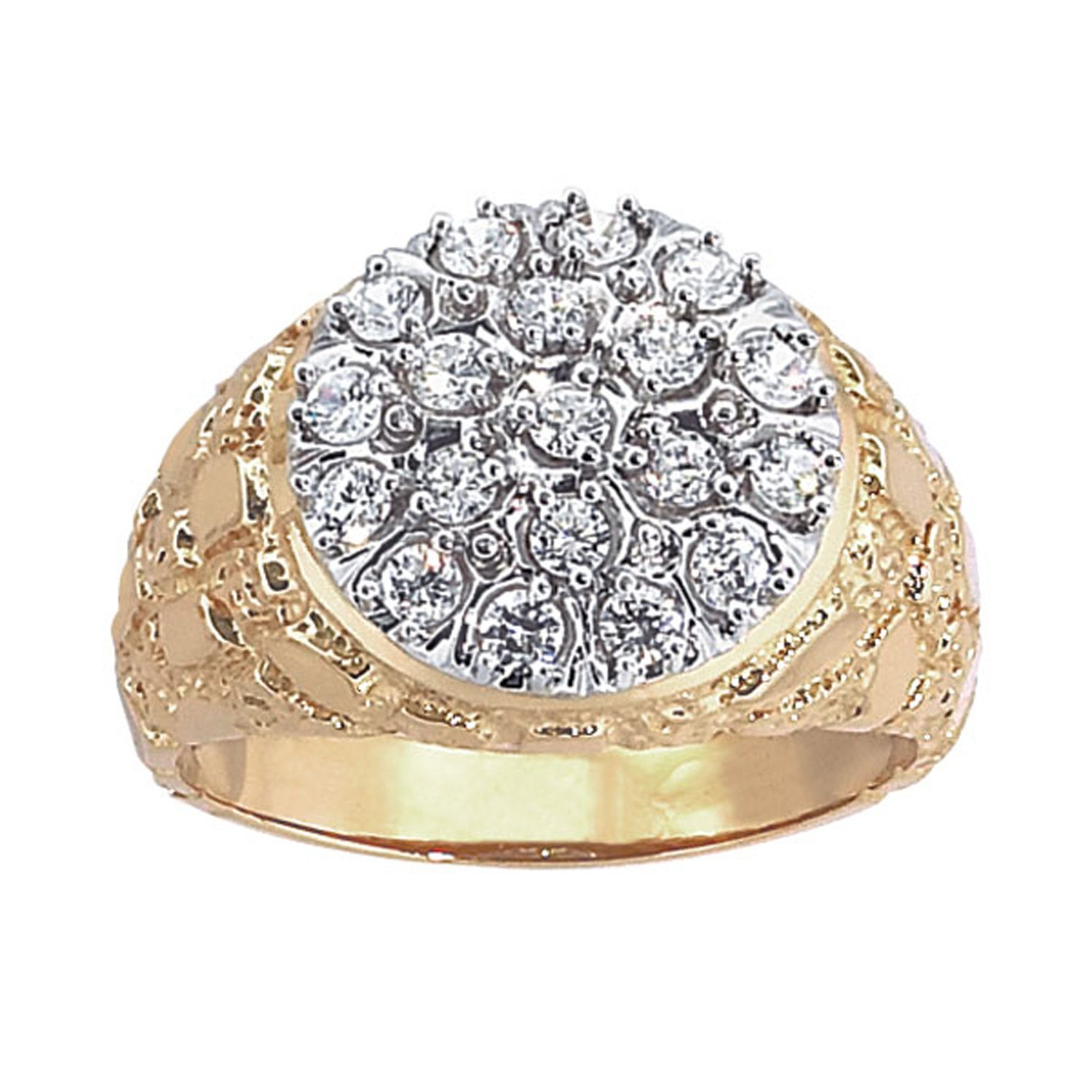 Men's 10k Two-Tone Gold with Nugget Sides Diamond Cluster Wedding Band (1cttw, H-I Color, I1-I2 Clarity), Size 8.5
