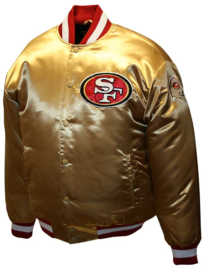 NFL Mens San Francisco 49Ers Prime Gold Satin Jacket