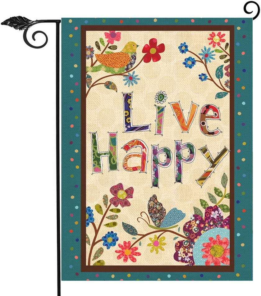 Hzppyz Live Happy Decorative Garden Flag Flowers Birds, Spring Summer Inspirational Quote House Yard Outdoor Small Welcome Flag Double Sided, Positive Seasonal Outside Decorations Burlap Decor 12 x 18