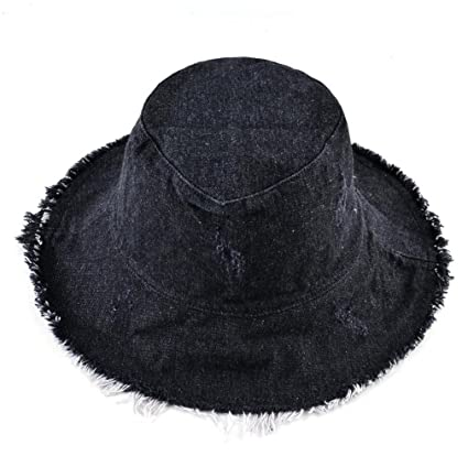 cb4ec2d04cbbb Tuplidsee Summer Washed Denim Sun Hat Women Tassel Floppy Cap Wide Brim  Beach Bucket Hats Black