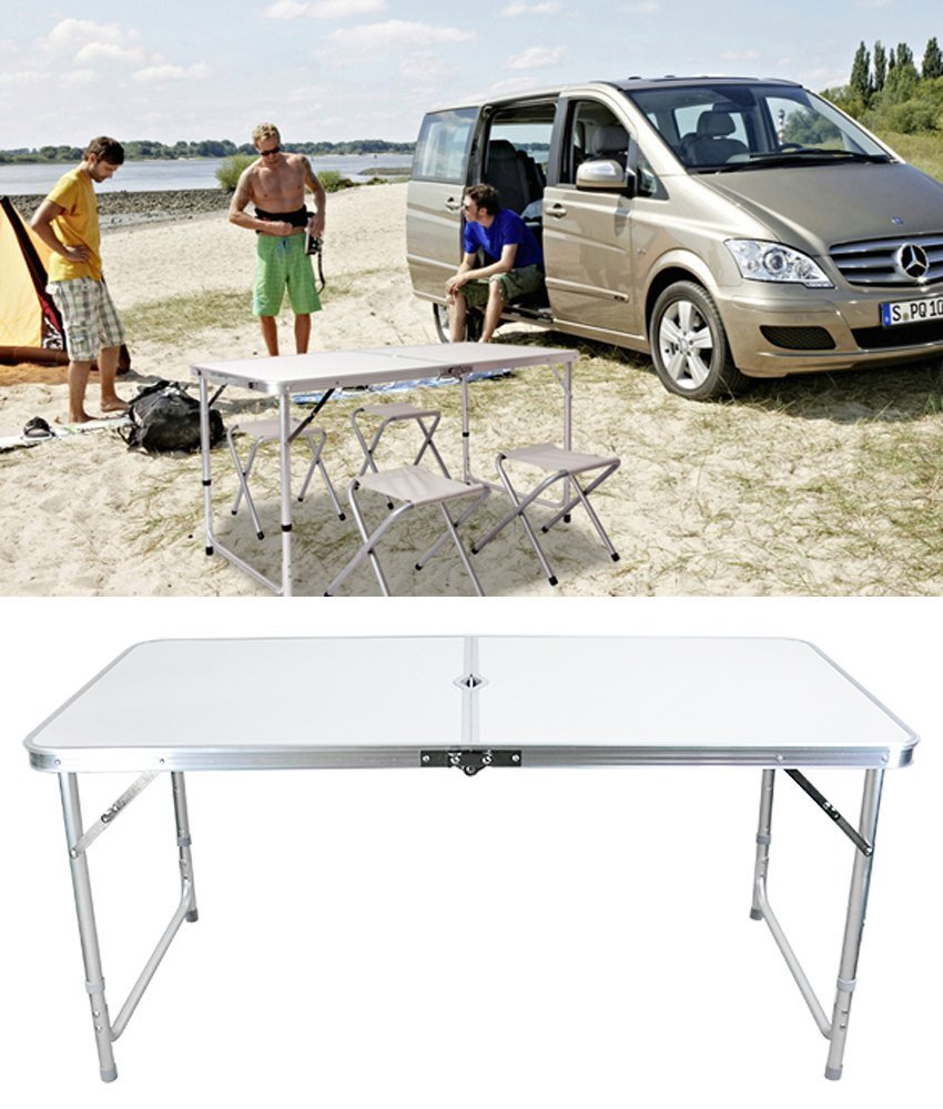 Lantusi Height Adjustable, Center Folding Table Multipurpose for Indoor Outdoor Picnic Party Dining Camp White (US Stock)