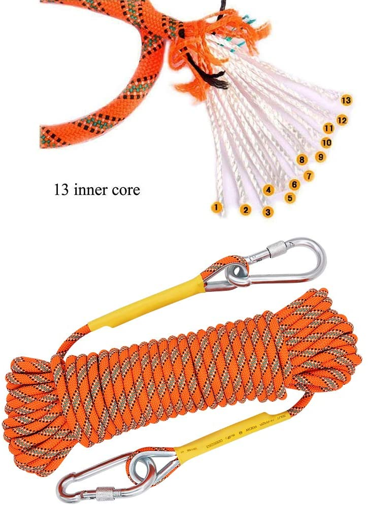 X XBEN Outdoor Climbing Rope 10M(32ft) 20M(64ft) 30M (96ft) 50M(160ft) 70M(230ft) Static Rock Climbing Rope, Escape Rope Ice Climbing Equipment Fire Rescue Parachute Rope : Sports & Outdoors